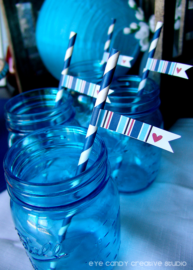 mason jars, patriotic, americana, party flags, stripes, red white & blue