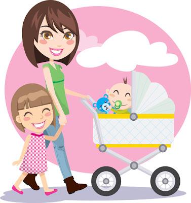 Vector familia con madre, niña y bebé