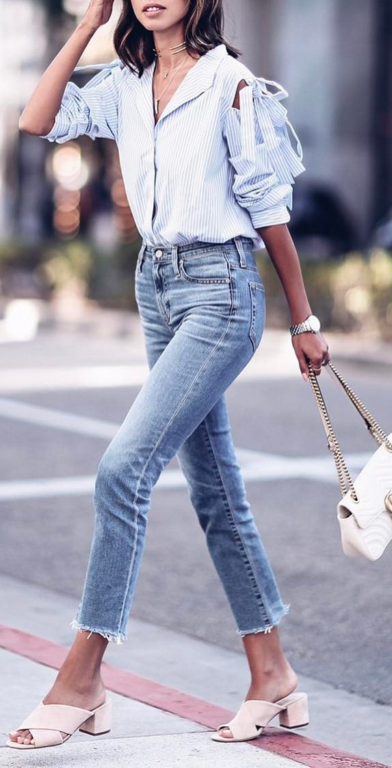 street style obsession: shirt + skinnies + bag