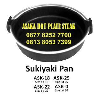 Hot Plate Sukiyaki Pan Tatakkan Kayu SAK - 18, ASK - 18 ( Sukiyaki Pan + tatak kayu) ,hotplate bulat,jual hot plate bulat pegangan stainless,hotplate murah,piring steak,asaka hot plate