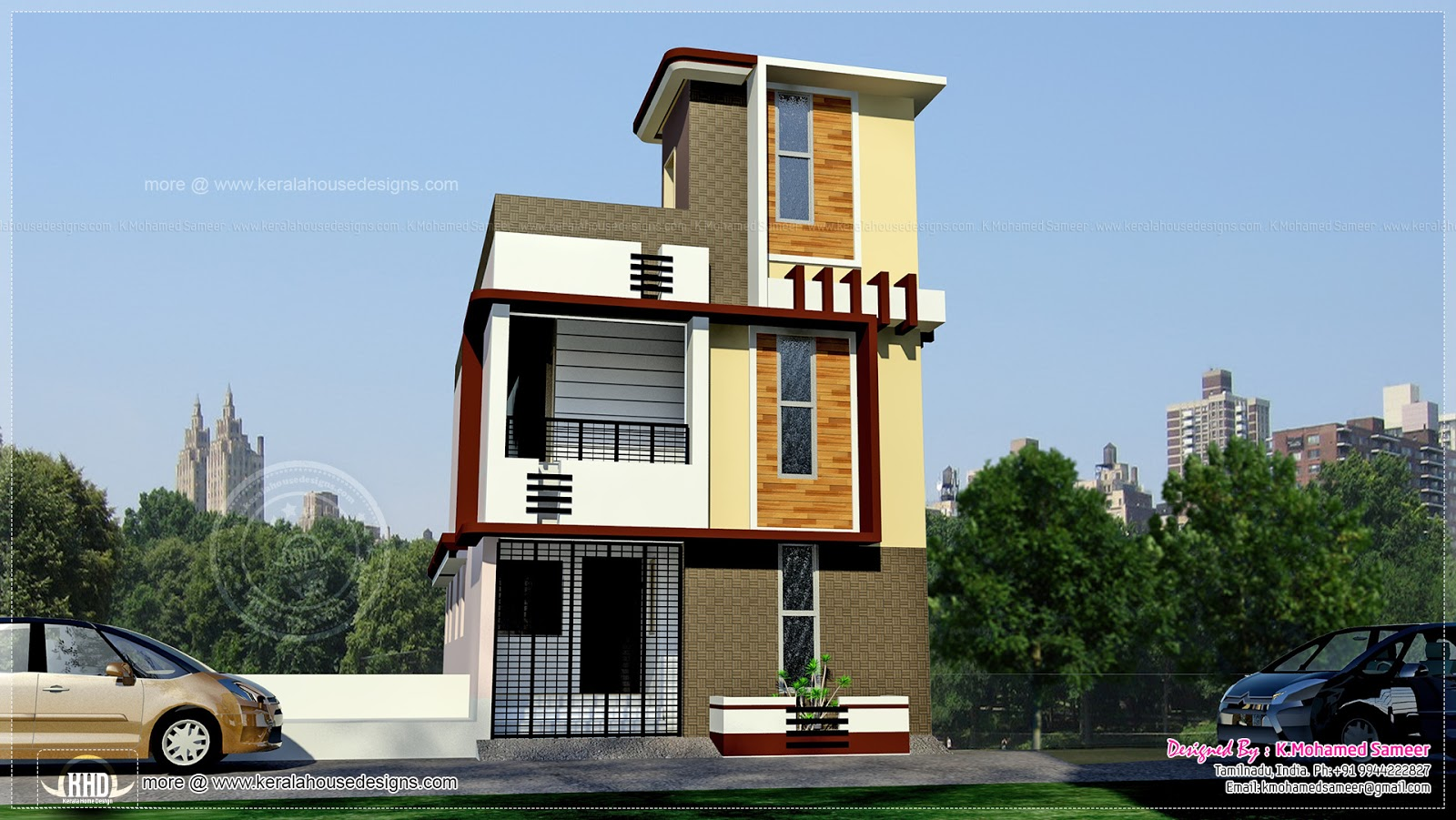 Tamilnadu style 3 storey house elevation kerala home for Small house design 3rd floor