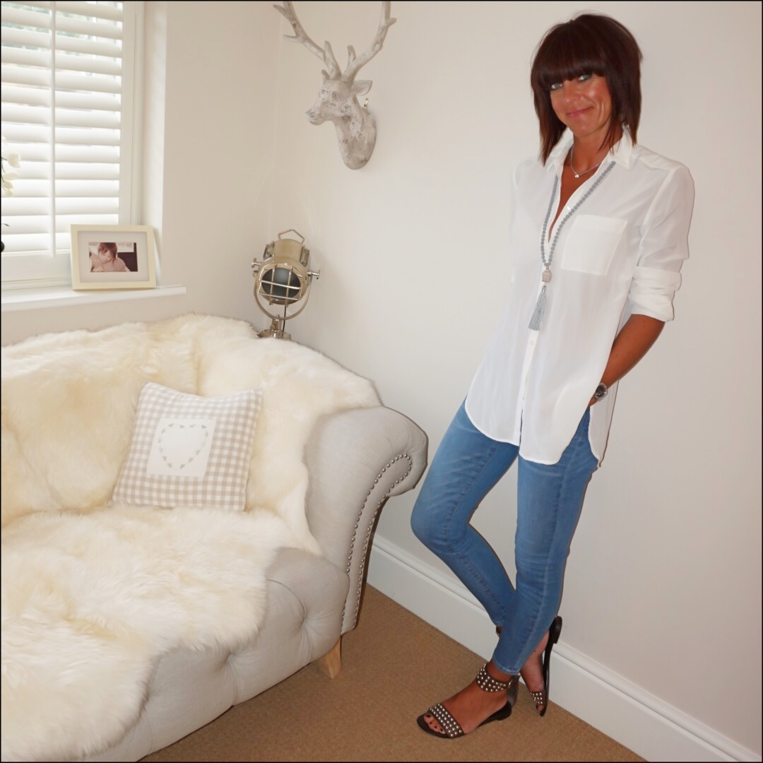 My midlife fashion, the white company silk shirt, j crew toothpick skinny 8 inch jeans, ash studded flat sandals