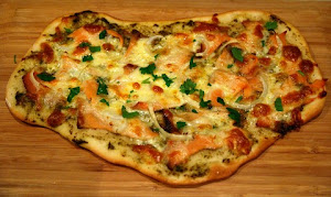Cheesy Onion and Smoked Salmon Pizza
