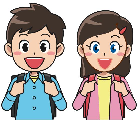 Nino y niña escolares con su mochila