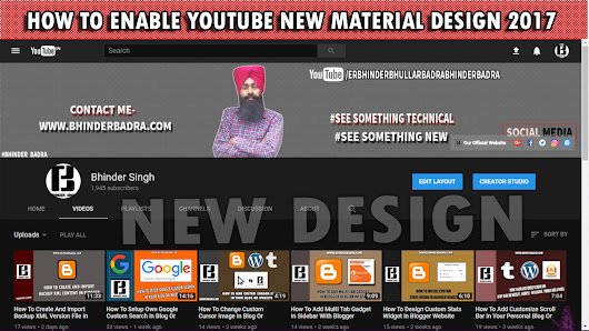 How To Enable YouTube New Material Design - 2017 #Bhinder_Badra