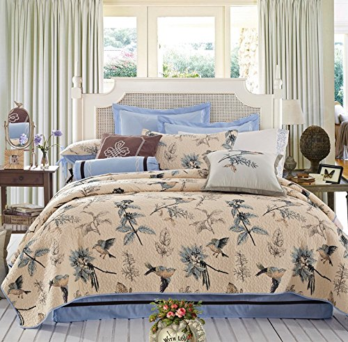 Bird Themed Bedding 3 Pce Print Motif Quilt Bedspread Set