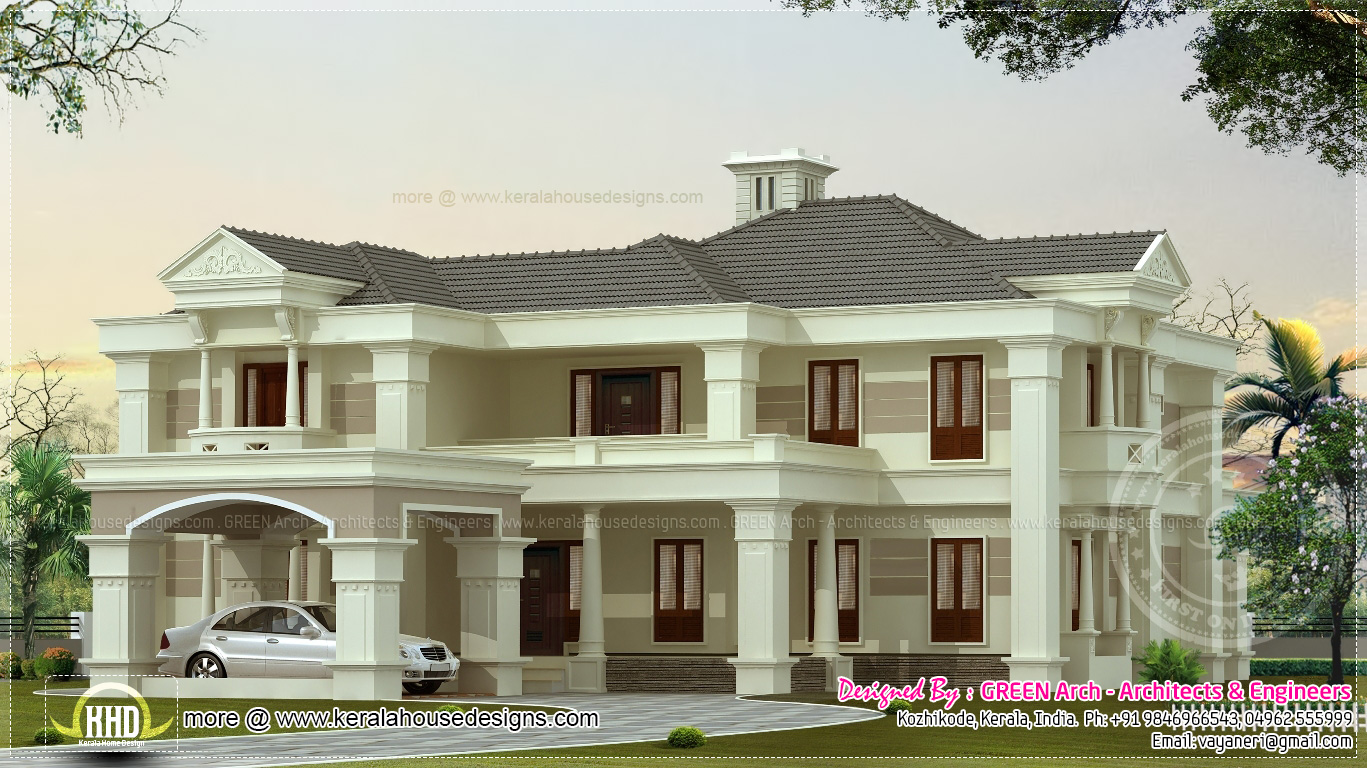 Luxury 3900 sq ft villa exterior kerala home design and for Villa plans in kerala style