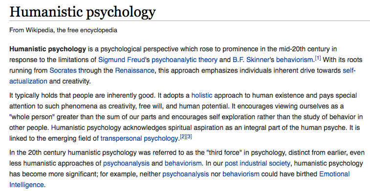 Humanistic psychology and why called third force psychology