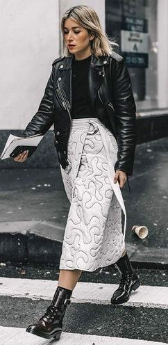 black and white street style | biker jacket + sweater + midi skirt + boots