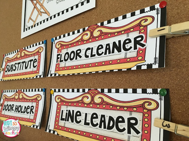 You can use the same Hollywood theme to create card labels for rotating classroom roles and responsibilities