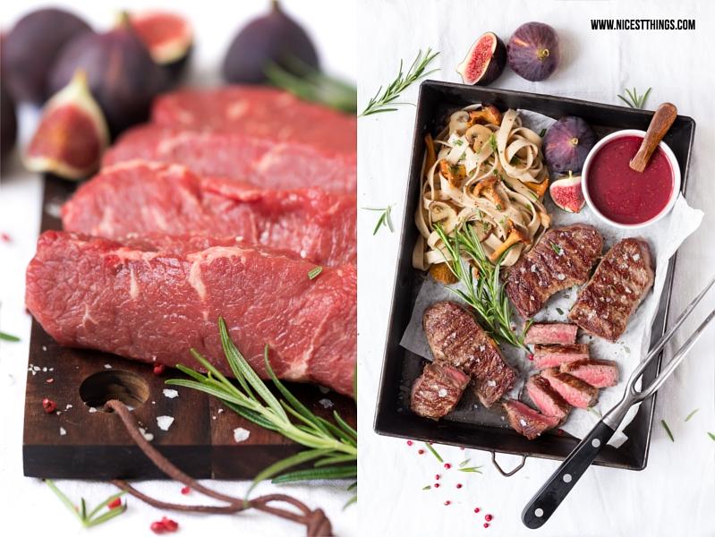 Rindersteak indirekt grillen mit Nudeln, Pfifferlingen, Feigen