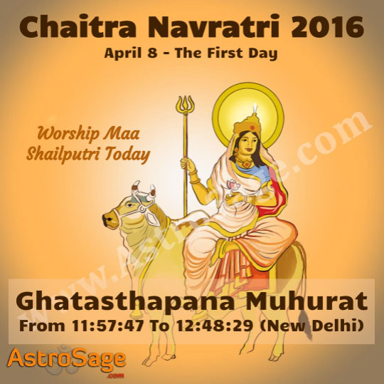 Presenting Chaitra Navratri first day Ghatasthapana Muhurat in 2016.