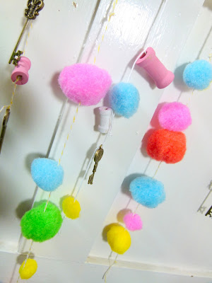 Close up of pom pom rows