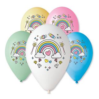 воздушные шарики с радугой