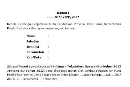 Format Kalimat Blangko Sertifikat BIMTEK Guru Sasaran Kurikulum 2013