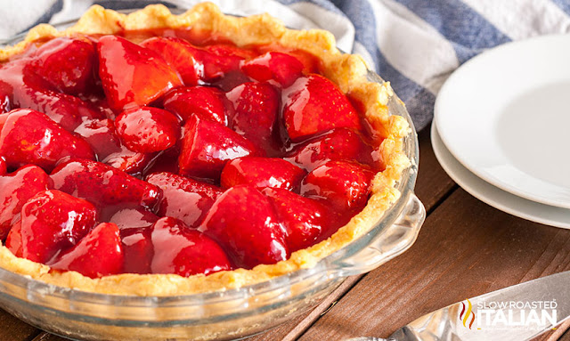 Fresh Strawberry Pie in a pie plate