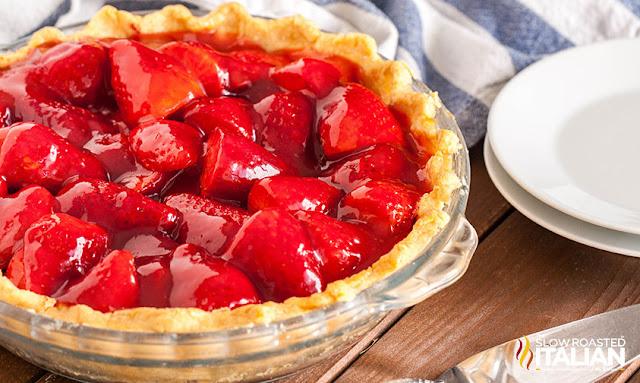 Fresh Strawberry Pie in a pie plate