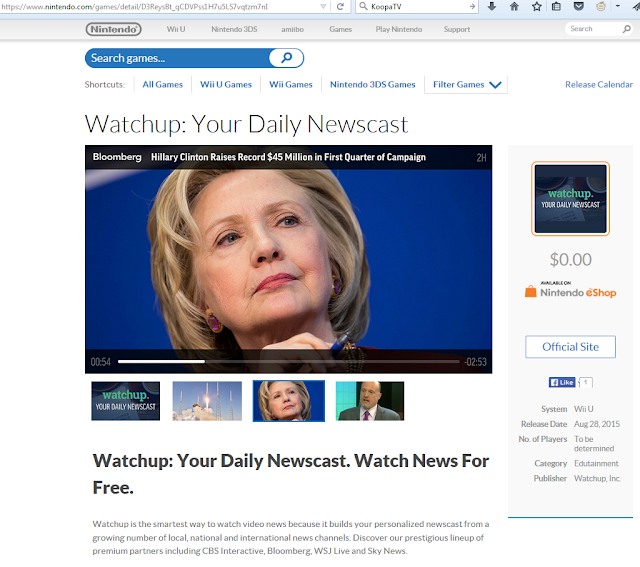Nintendo of America Hillary Clinton Watchup Your Daily Newscast