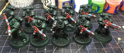 Dark Angels Primaris Hellblasters WIP more work on the plasma weapons