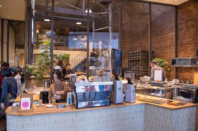 The counter at Allpress Espresso Tokyo Roastery & Cafe, Kiyosumi-Shirakawa neighborhood, Tokyo.