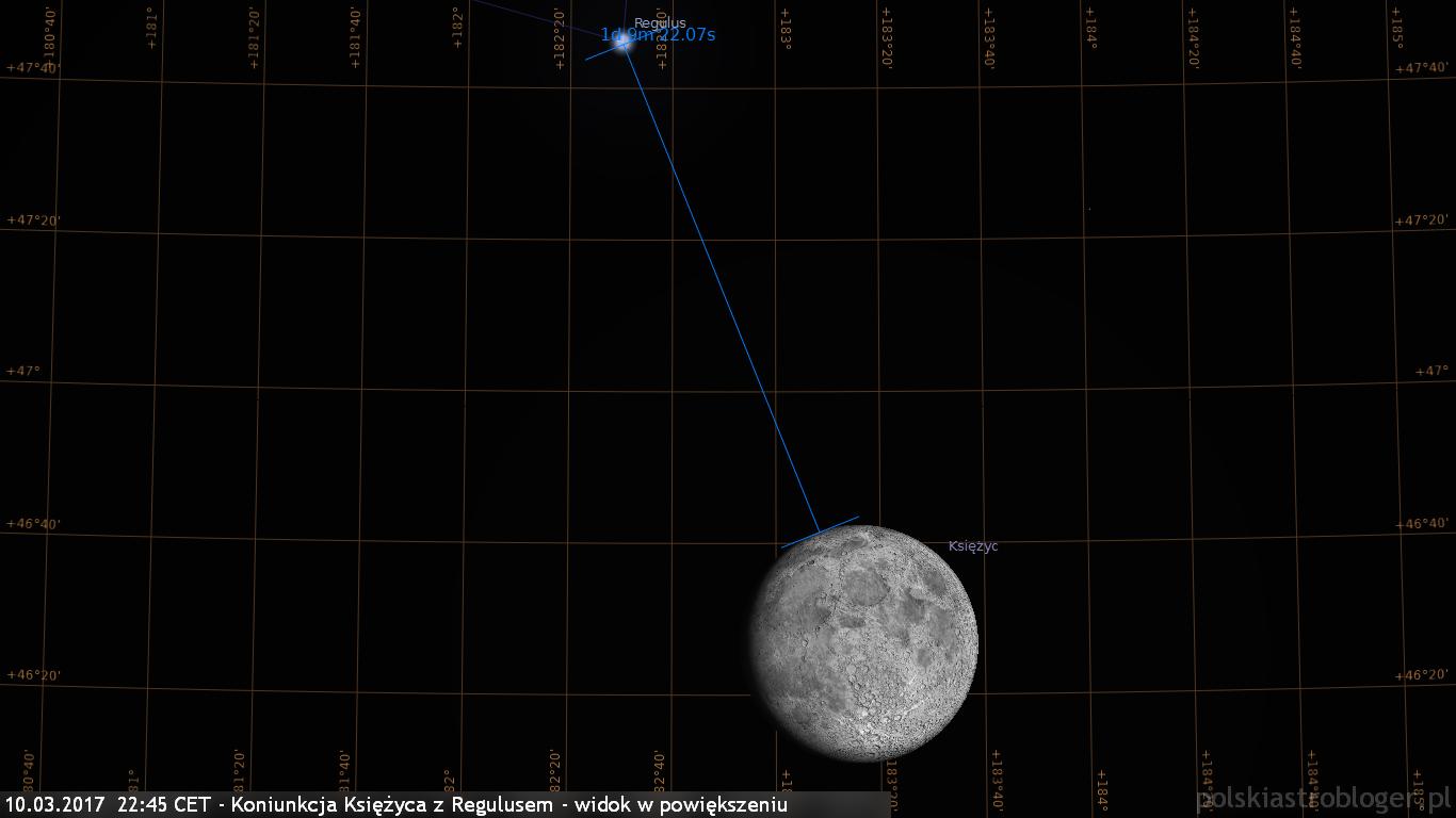 10.03.2017  22:45 CET - Koniunkcja Księżyca z Regulusem