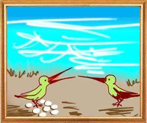 टिटिहरी का जोडा़ और समुद्र का अभिमान ~ The Bird Pair and the Sea Panchatantra Story In Hindi