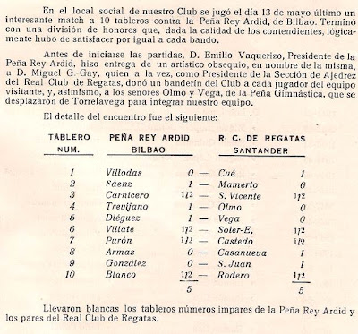 Extracto del folleto del encuentro de ajedrez entre el Peña Rey Ardid de Bilbao y el Real Club de Regatas de Santander