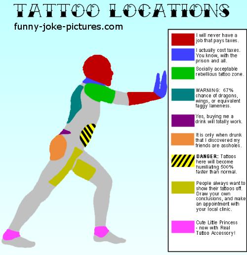 Funny Joke Tattoo Location Map Image