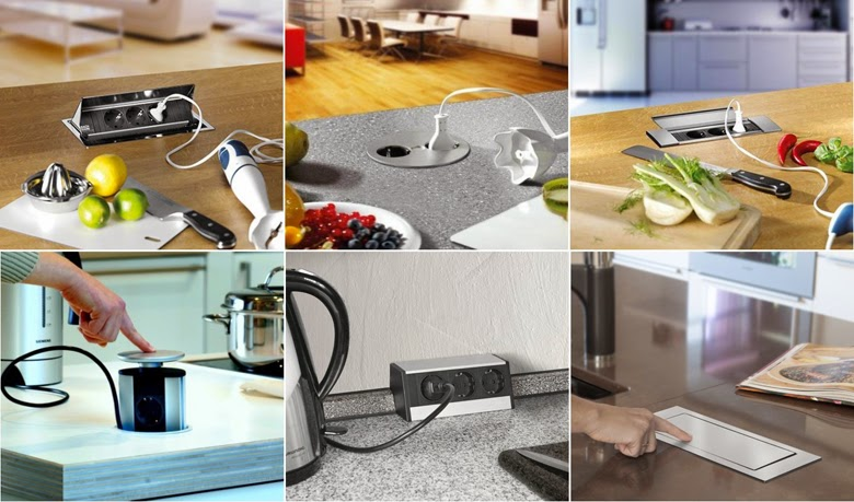 wysuwane gniazdka kuchnia, nowoczesne rozwiązania do kuchni, funkcjonalna kuchnia