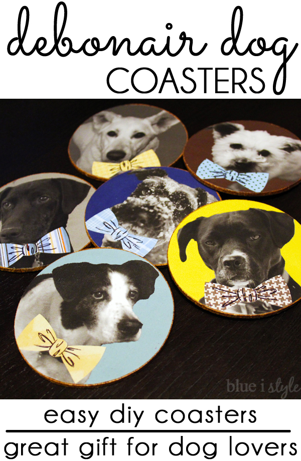 DIY dog in bow tie coasters