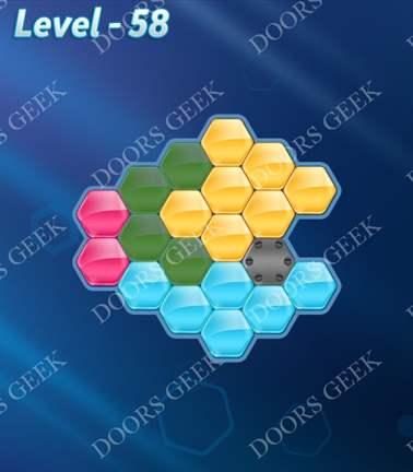 Block! Hexa Puzzle [Rainbow A] Level 58 Solution, Cheats, Walkthrough for android, iphone, ipad, ipod