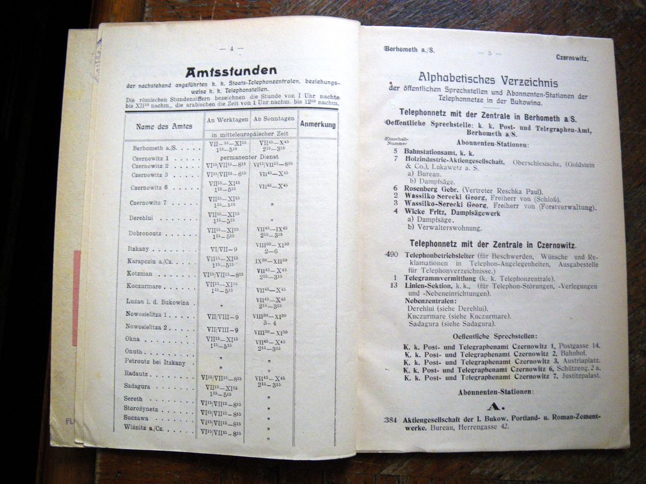 CZERNOWITZ: Bukovina Telephone Directory for the Year 1909