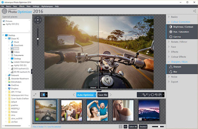 Ashampoo Photo Optimizer 2016 built for the average user that seeks to achieve brilliant photos with minimum effort. Optimization is fully automatic and can fix color and lighting defects at the click of a button. This program includes all standard image editing features plus batch processing support.