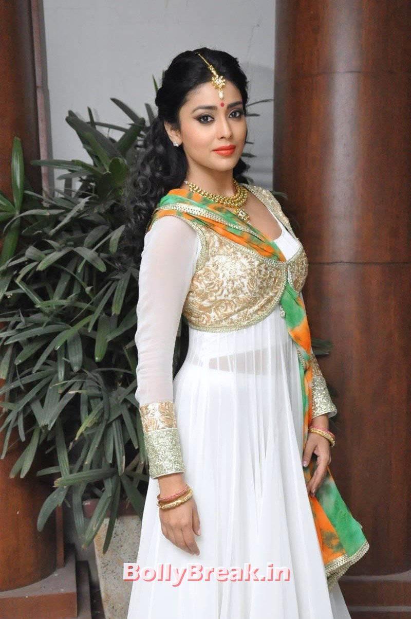 Actress Shriya Saran Images, Shriya Saran Latest Hot HD Pics in White Anarkali Dress