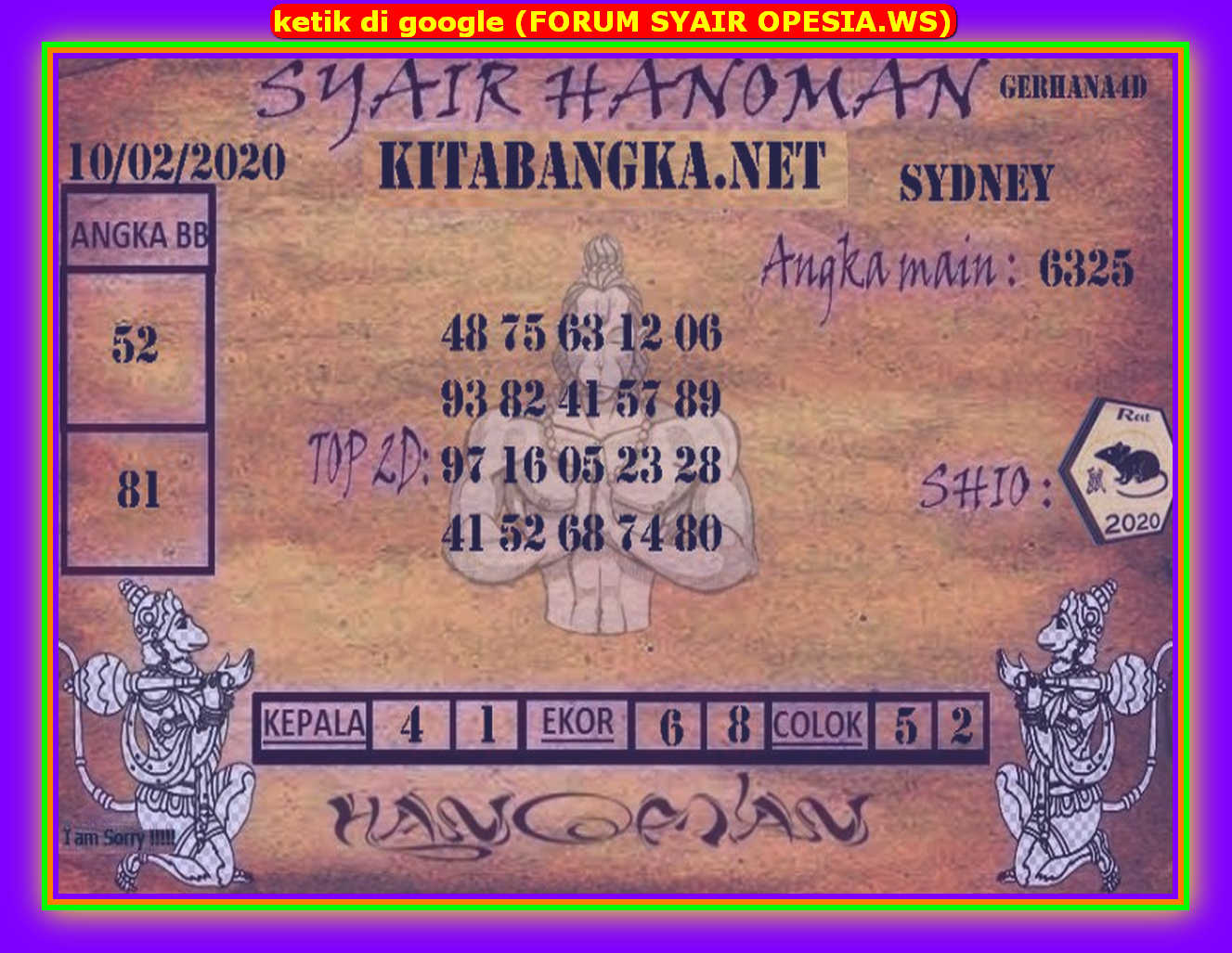 Kode syair Sydney Senin 10 Februari 2020 80