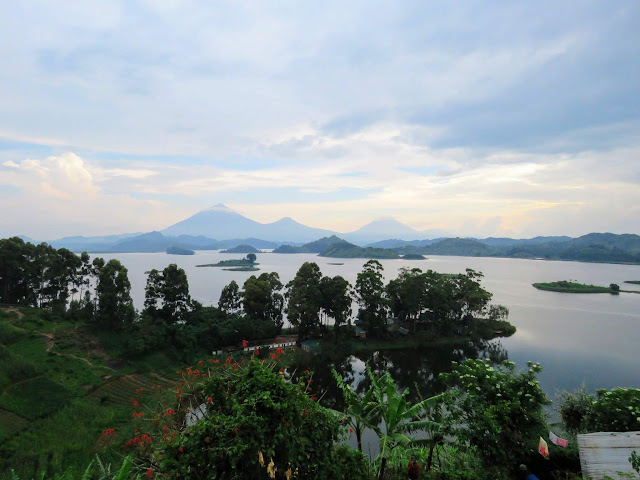 Mutanda Lake and the Virunga mountains in Uganda