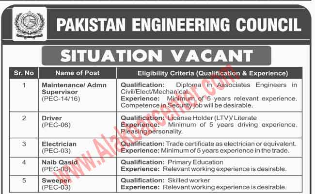 Jobs in Pakistan Engineering Council (PEC) Apply Before 05 March, 2018