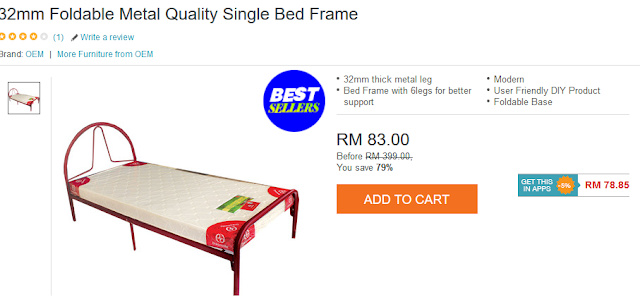 232mm Foldable Metal Quality Single Bed Frame