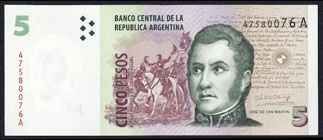 Argentina Banknotes 5 Pesos Convertibles banknote 1998 General Jose de San Martin
