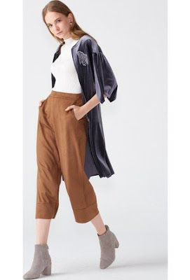 Bayan süet pantolon kısa paça