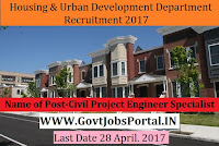 Housing and Urban Development Department Recruitment 2017– Municipal/ Civil Project Engineer Specialist, MIS Specialist