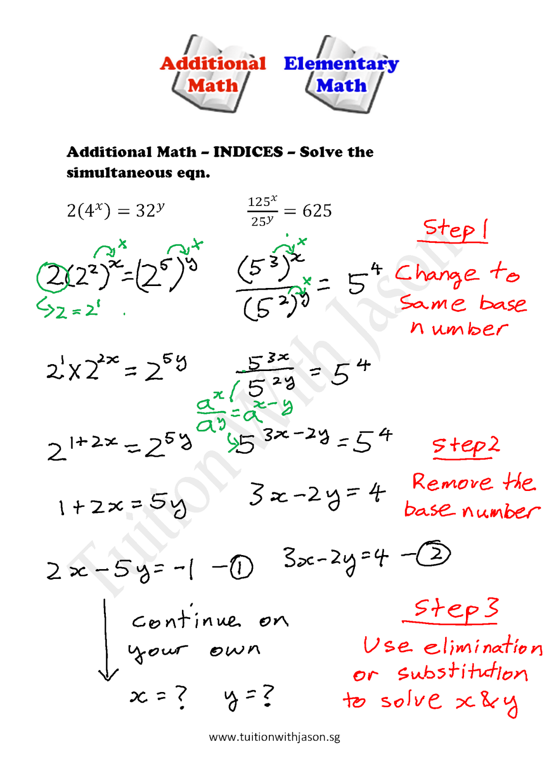 Math Worksheet Using Variables