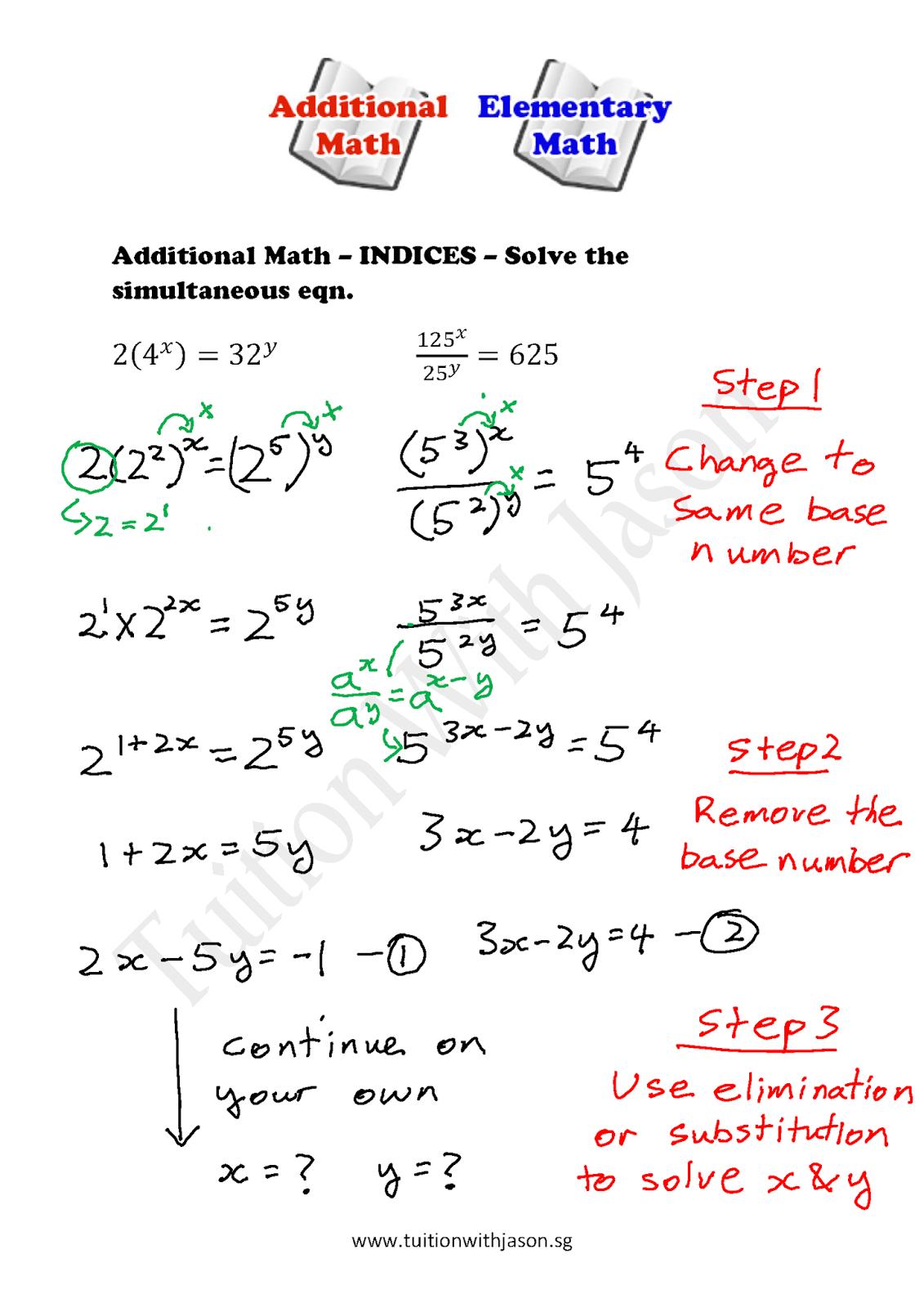 Math Worksheet Using Variables