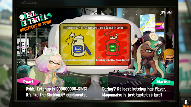 Splatoon 2 Splatfest ketchup has flavor mayonnaise is just tasteless lard Marina