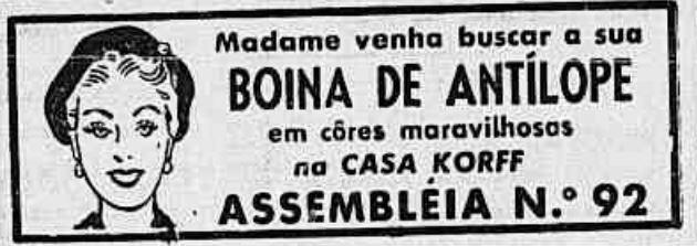 Anúncio promovia a chegada de boinas produzidas com couro de antílope, nos anos 50.