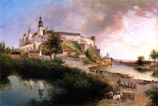 Widok Wawelu od północnego zachodu, Staw na Groblach i przystań flisaków na Wiśle naprzeciw Dębnik, ok. 1847 r. Jan Nepomucen Głowacki (Public Domain).