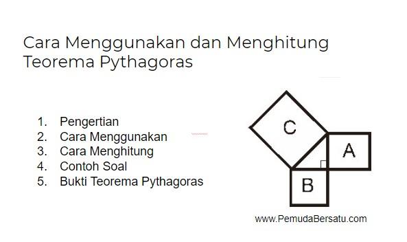 Cara Menggunakan dan Menghitung  Teorema Pythagoras beserta soalnya