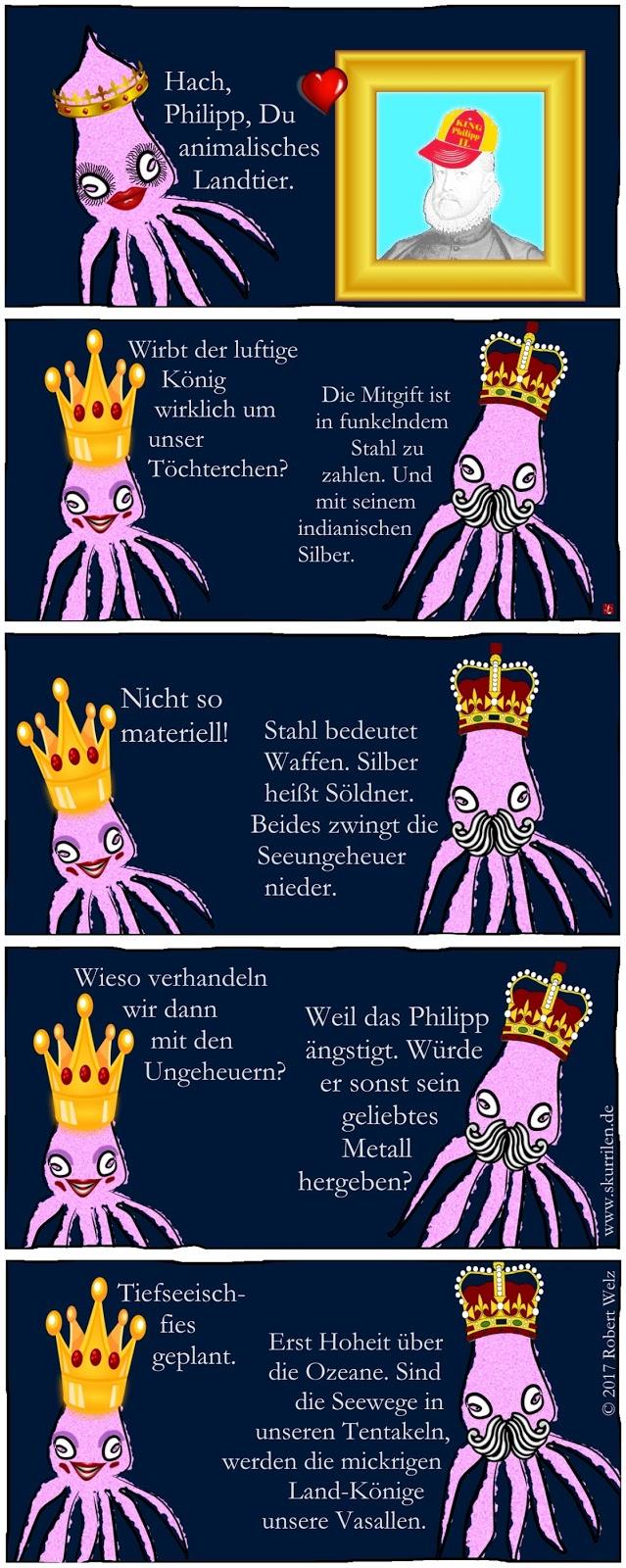 Intrige Machtspiel Ränke List Täuschung Comic Geschichte Herrschaft König Philipp II. Riesenkalmare Prinzessin Tiefsee