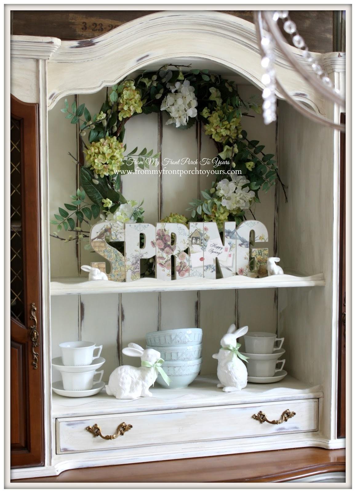 Easter Decor-French Farmhouse Easter Dining Room-French Country Hutch- From My Front Porch To Yours