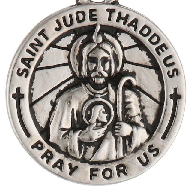 White Gold Saint Jude Medals